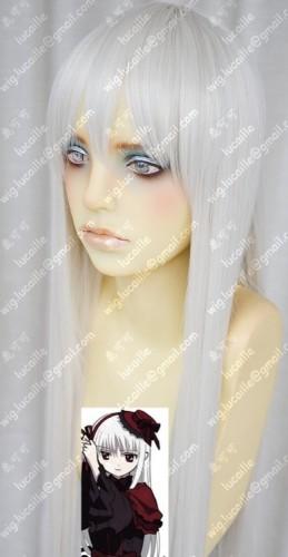K Kushina Anna 80cm Straight Pearl White Cosplay Party Wig
