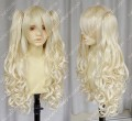 Vocaloid3 Korea SeeU Pale Blonde 80cm Curly Cosplay Party Wig w/Ponytails