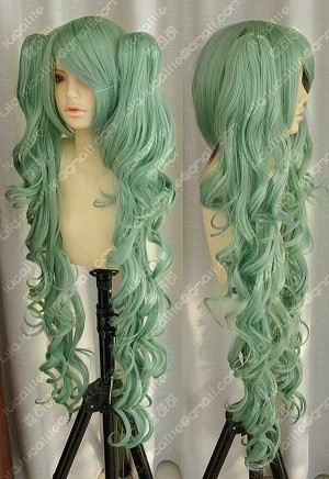 Vocaloid Miku Hatsune Rotten Girl Cosplay Party Wig w/100cm Curly Ponytails
