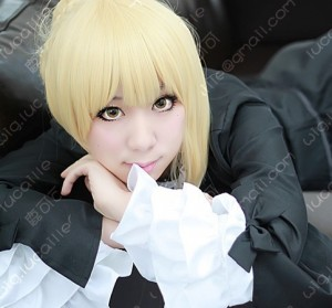 Fate/Zero Saber All in One Blonde Cosplay Party Wig w/ Ahoge