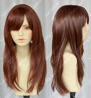 AYAMO Fashion Red Brown 60cm Wavy Party Cosplay Wig