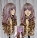 AYAMO Fashion Rose Mist to Brown Mix Color 90cm Wavy Party Cosplay Wig