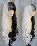 AYAMO Fashion Half Black Half White Color 100cm Curly Party Cosplay Wig