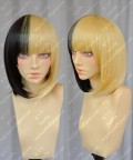 ZYR Ayamo Fashion Half Baclk Half Golden Short Party Cosplay Wig
