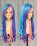 ZYR Ayamo Fashion Blue Mix Purple Mix Pink Color 80cm Curly Cosplay lolita Party Wig