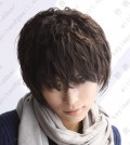 Youth Boy Sakura Style Black Short Daily Cosplay Party Wig