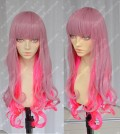 ZYR Ayamo Fashion Pink Gradient Red 80cm Curly Party Cosplay Wig