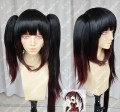 DATE A LIVE Tokisaki Kurumi Black Gradient Brown Different Length Ponytails Style Cosplay Party Wig