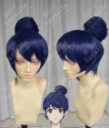 Samurai Flamenco Moe Morita Dark Blue Purple Bun Style Cosplay Party Wig
