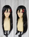 Kagerou Project Mekakucity Actors TATEYAMA AYANO Black 60cm Straight Cosplay Party Wig With Red Hairpin