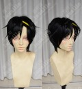 Kagerou Project Mekakucity Actors KISARAGI SHINTAROU Black Short Cosplay Party Wig With Yellow Hairpin