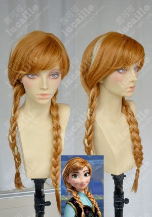 Frozen The Snow Queen Anna 70cm  Marigold Highlights Cosplay Party Wig