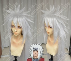 NARUTO Jiraiya Silver Grey 100cm Cosplay Party Wig