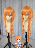 DATE A LIVE Yuzuru Yamai 100cm Orange Golden Ponytail Style Cospaly Party Wig