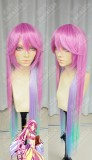 No Game No Life Jibril Jiburīru Top Cherry Pink Rainbow Gradient Color 100cm Straight Cosplay Party Wig