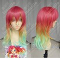 No Game No Life Stephanie Dola Top Red Rainbow Gradient Color 50cm Wavy Cosplay Party Wig