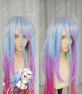 No Game No Life Shiro Top Lavender Rainbow Gradient Color 120cm Wavy Cosplay Party Wig