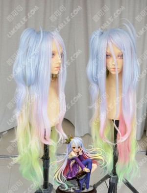 No Game No Life Shiro Light Top Lavender Rainbow Gradient Color 120cm Wavy Cosplay Party Wig