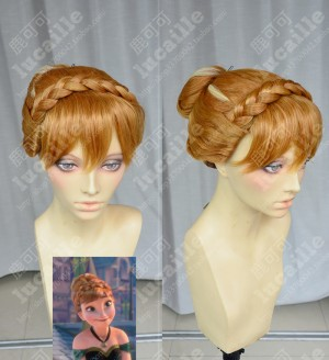 Frozen The Snow Queen Anna Updo Style Marigold Highlights Cosplay Party Wig