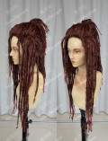 Dramatical Murder Mink Brown Mix Red Dreadlocks Style 70cm Short Cosplay Party Wig