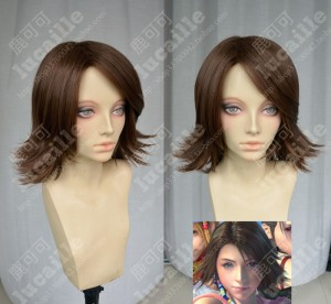 Final Fantasy X-2 Yuna Brown Short Gunners Style Cosplay Party Wig