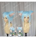 Sword Art Online Ⅱ Shino Asada Light Blue Mix White Cat Ears Elf Ver Short Cosplay Party Wig