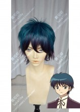 Rin-ne yōkai no Rinne Tsubasa Jumonji DarkCyan Gradient Indigo Short Cosplay Party Wig