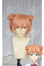Food Wars: Shokugeki no Soma  Yūki Yoshino Pink Orange Handmade Buns Short Cosplay Party Wig
