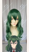 Shimoneta: A Boring World Where the Concept of Dirty Jokes Doesn't Exist Hyouka Fuwa Chrome Green Mix Parrot Green 60cm Curly Cosplay Party Wig