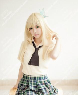 Boku wa Tomodachi ga Sukunai Haganai Sena Kashiwazaki 60cm Blonde Cosplay Wig