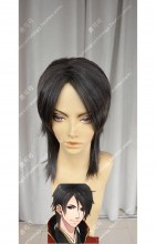 DMM R18 Game Gyakuten Ooku Kashima Iori Lamp Black Short Cosplay Party Wig