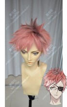 DIABOLIK LOVERS MORE,BLOOD Tsukinami Shin Rose Gray Top Old Rose Gradient Pink Short Cosplay Party Wig