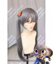 Zootopia Judy Hopps Gray Mix Purple 90cm Ponytails Style Cosplay Party Wig