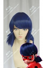 Miraculous: Tales of Ladybug & Cat Noir Marinette Dupain-Cheng Blue Mix Black Ponytails Style Short Cosplay Party Wig