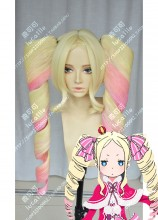 Re:Zero Beatrice Blond Short Wig Pink Mix Blond Ponytail Style Cosplay Party Wig