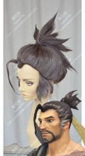 Overwatch Hanzo Rose Gray Ponytail Style Cosplay Party Wig