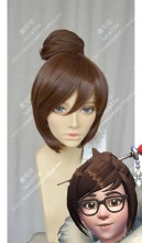 Overwatch Mei Coffee Brown Bun Style Cosplay Party Wig