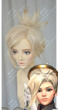 Overwatch Mercy Beige Ponytail Cosplay Party Wig