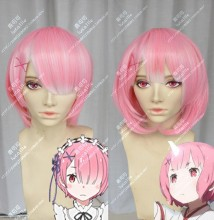 Re:Zero Ram Rose Pink Mix Camellia Short Cosplay Party Wig