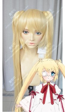 Rewrite Nakatsu Shizuru Light Mixgolden 2 Ponytails Cosplay Party Wig