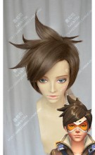 Overwatch Tracer Brown Wax Style Short Cosplay Party Wig