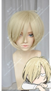Yuri!!! on Ice Yuri Plisetsky Lightgoldenrodyellow Short Cosplay Party Wig