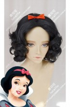 Snow White and the Seven Dwarfs Snow White Black Curly Short Cosplay Party Wig