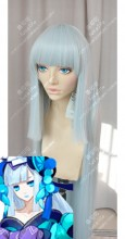 Onmyoji aoandon 120cm White Mix Blue Cut Sideburn Style Cosplay Party Wig