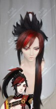 Onmyoji Minamoto no Hiromasa Top Black Down Brown With Red Hair Extend Cosplay Party Wig