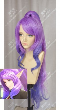 League of Legends Janna Star Guardian Skin Lavender Mauve Gradient Ultramarine Blue Ponytail Cosplay Party Wig