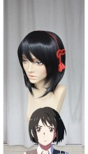 Your name Kimi no Na wa Miyamizu Mitsuha Black 4 Style Cosplay Party Wig