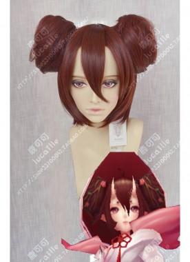 Onmyoji Sakura Yousei Kakusei Awakening Style Marron Mix Brown Bun Style Cosplay Party Wig