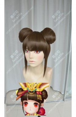 Onmyoji Yama Usagi Brown Bun Style Cosplay Party Wig