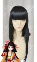 Onmyoji koi yousei Black Long Sideburn Straight Cosplay Party Wig